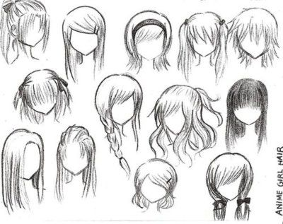 clip black and white stock Drawing ponytails anime. Hairstyles for girls ponytail