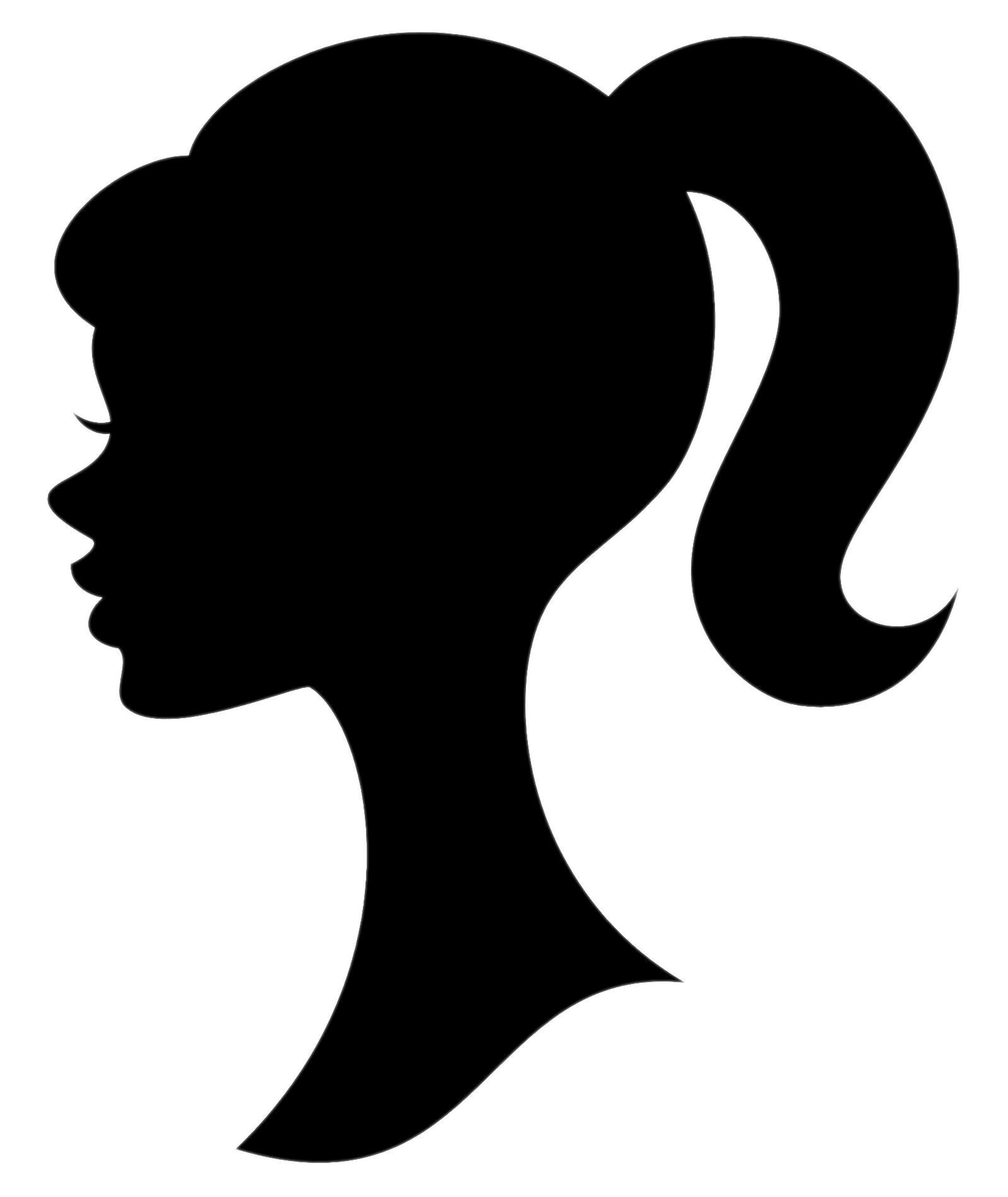 vector black and white download Girl ponytail at getdrawings. Drawing silhouette messy bun