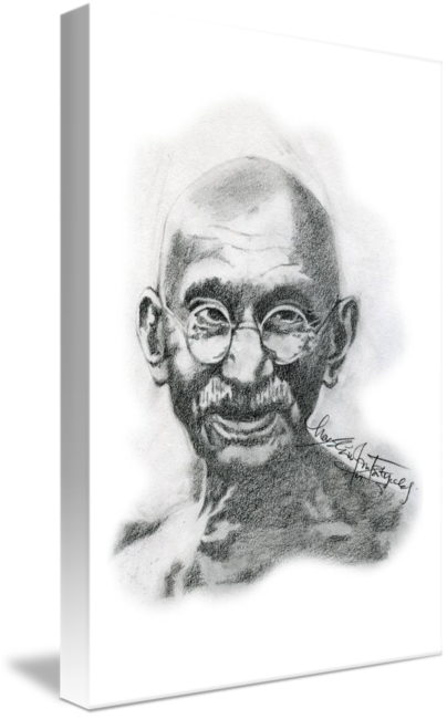 svg freeuse download Drawing portrait. Hand drawn of mahatma