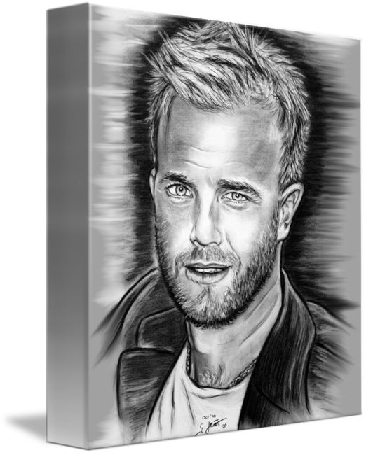 banner free library Gary barlow in by. Drawing portrait black and white