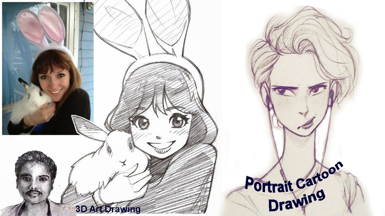 graphic black and white How to draw self. Drawing portrait cartoon