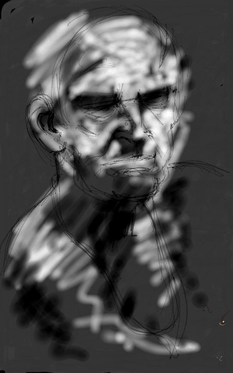 image royalty free stock Drawing portrait dark. Swansea print workshop scribblah