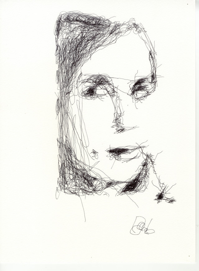 banner library stock Drawing portrait human. Robots sketch portraits in
