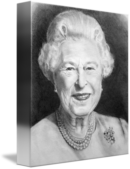 jpg black and white library Queen elizabeth ll pencil. Drawing portrait person