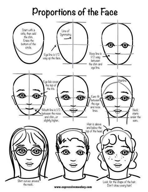clip art freeuse download Drawing portrait step by. Tutorial for a face