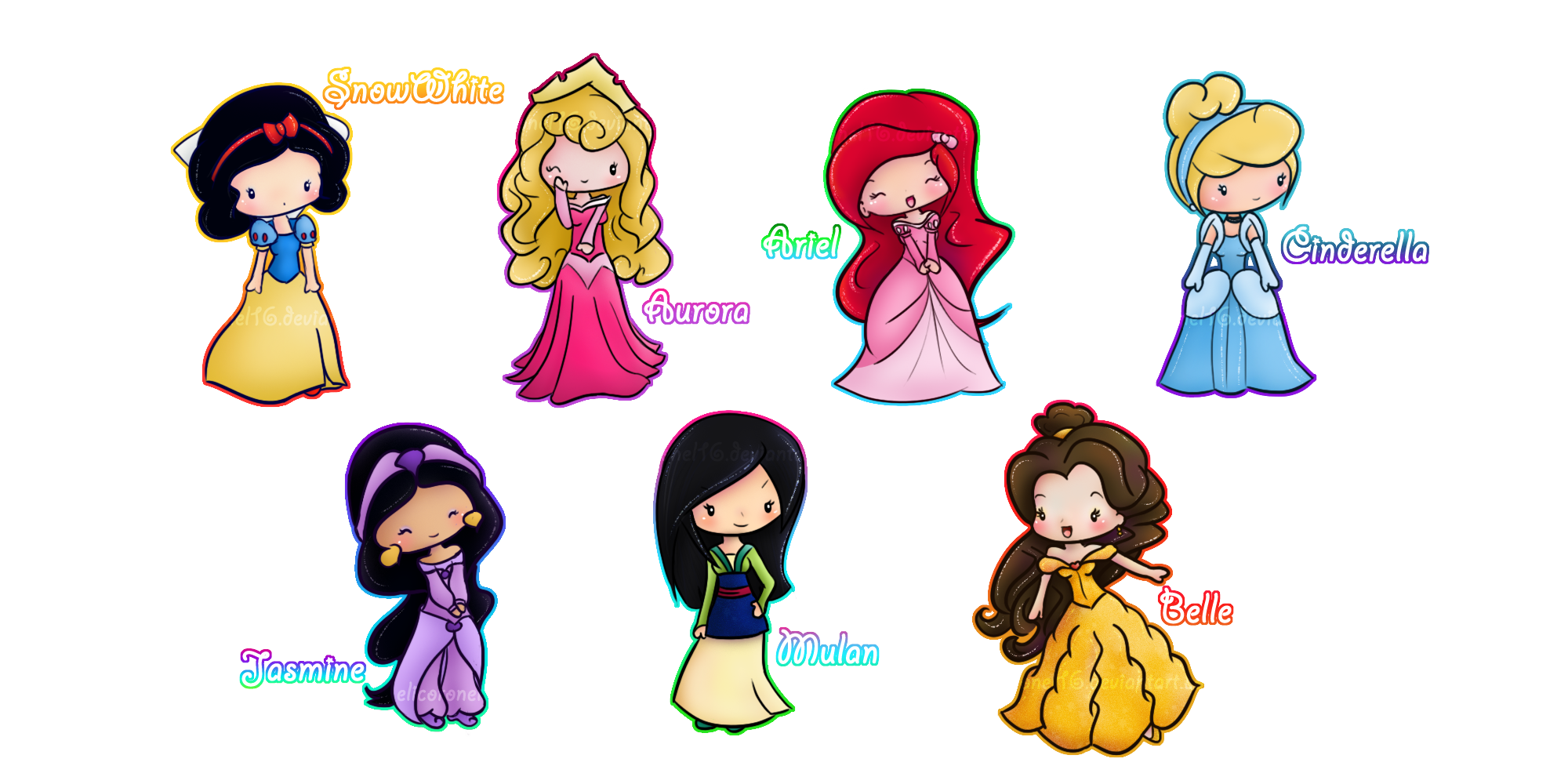 royalty free library Disney princesses by elicoronel. Drawing princess adorable