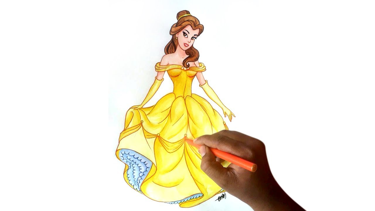 clip transparent library How to draw belle. Drawing princess beauty and the beast