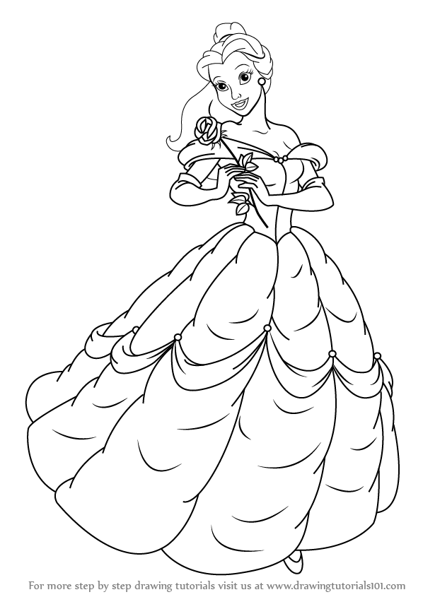 banner Learn how to draw. Drawing princess belle