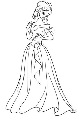 png black and white stock Drawing princess coloring. Beautiful page free printable