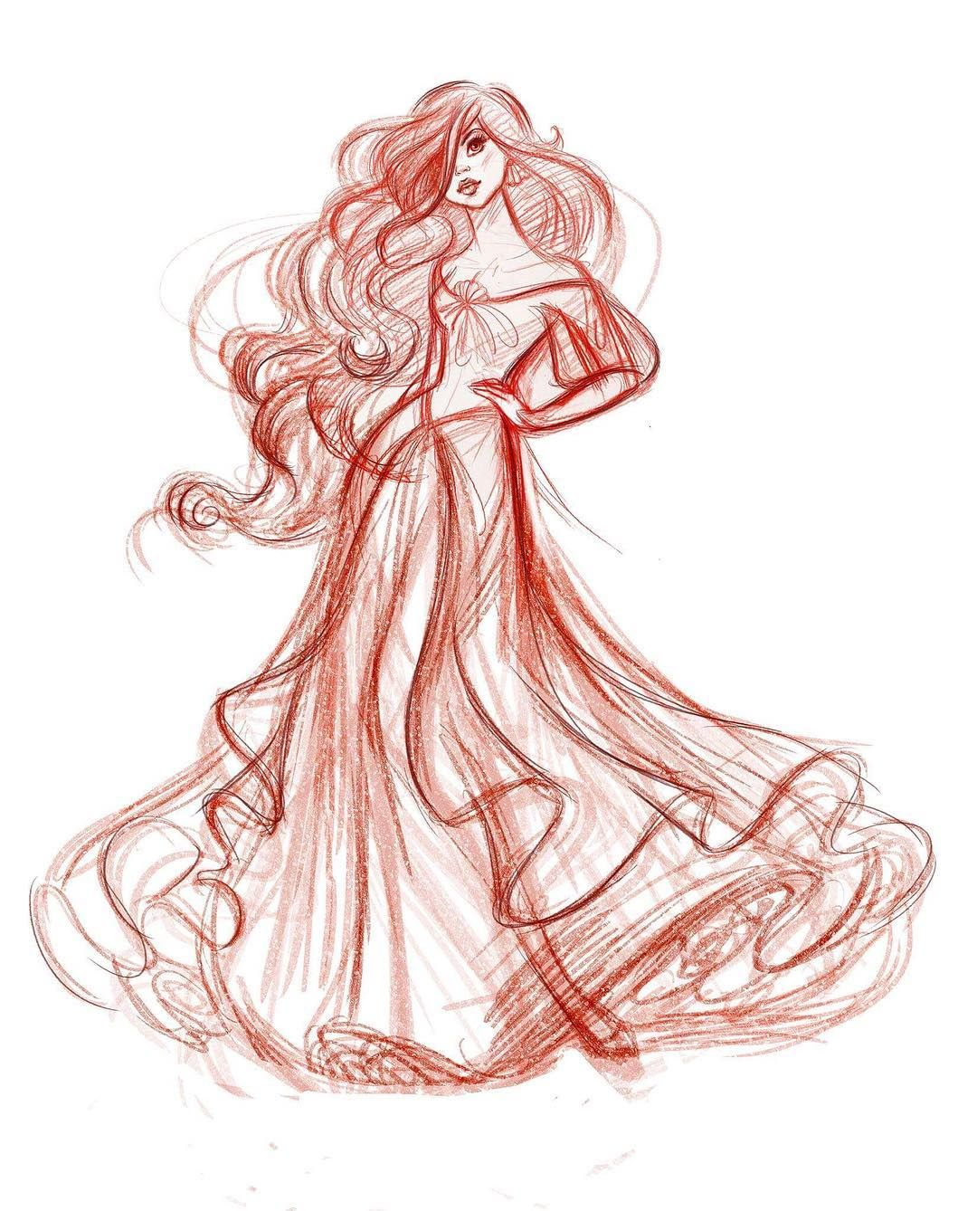 clip art transparent library Drawing princess full body. Ariel the water sketch