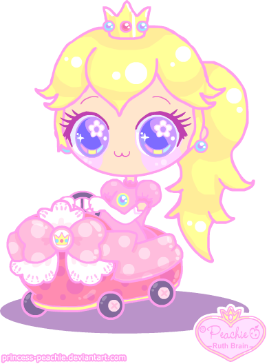 graphic library Peach in mario kart. Drawing princess kawaii cute