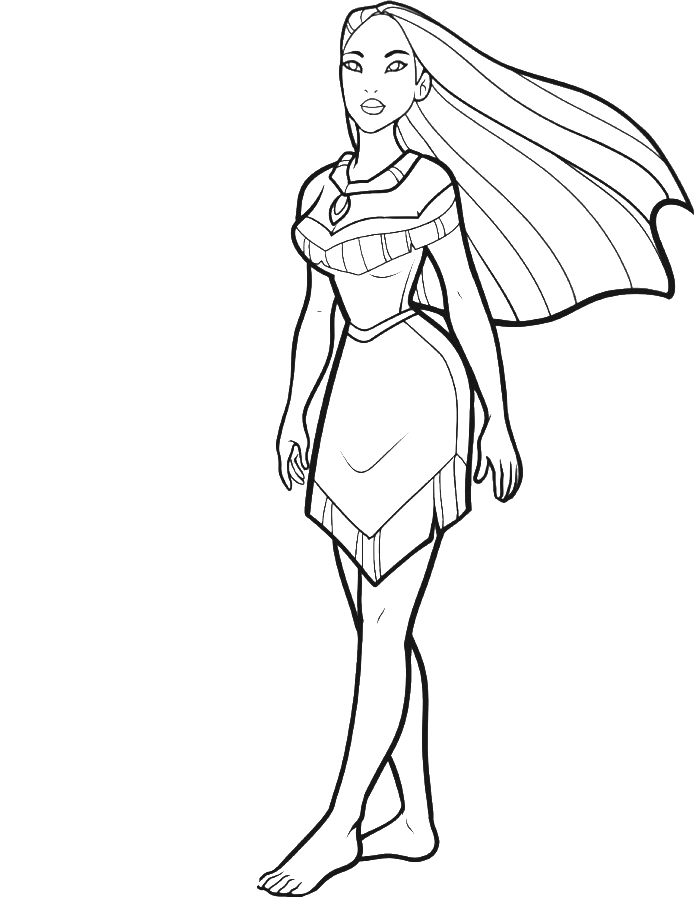 clip art black and white library Drawing princess long hair. Collection of free pocahontas