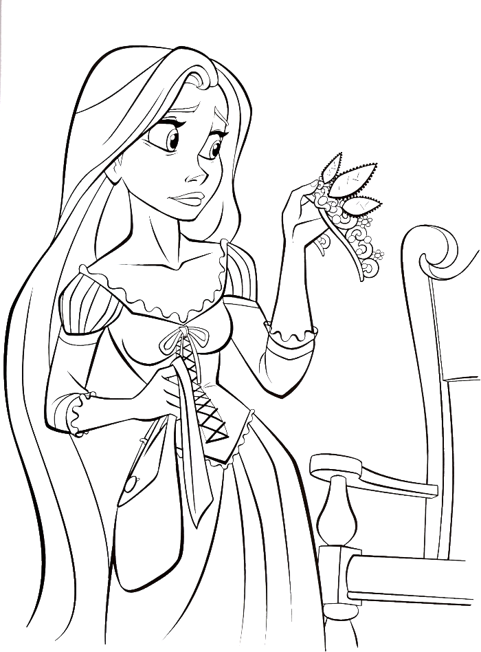 black and white stock Disney coloring for kids. Drawing princess rapunzel