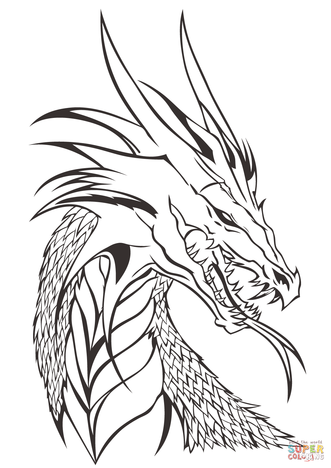 transparent download Head coloring page free. Drawing printables dragon