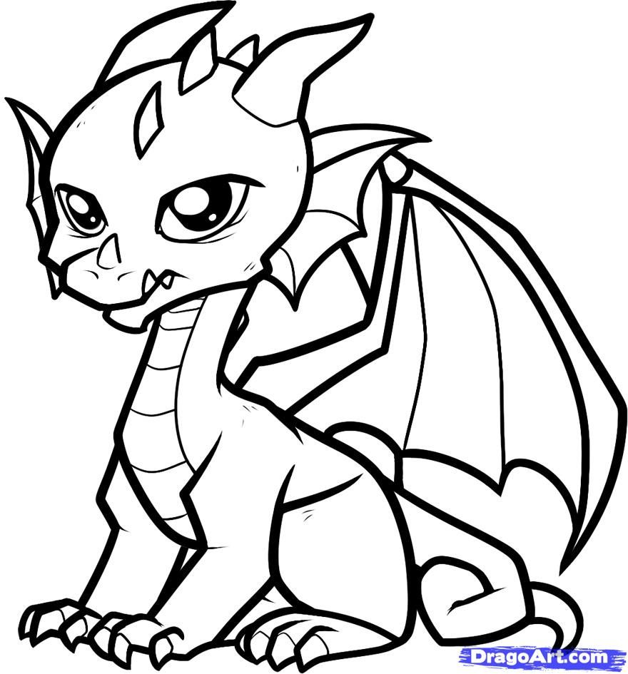 clip freeuse library Drawing printables dragon. Coloring pages cute printable