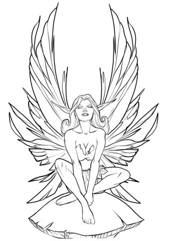black and white library Coloring page free printable. Drawing printables fairy