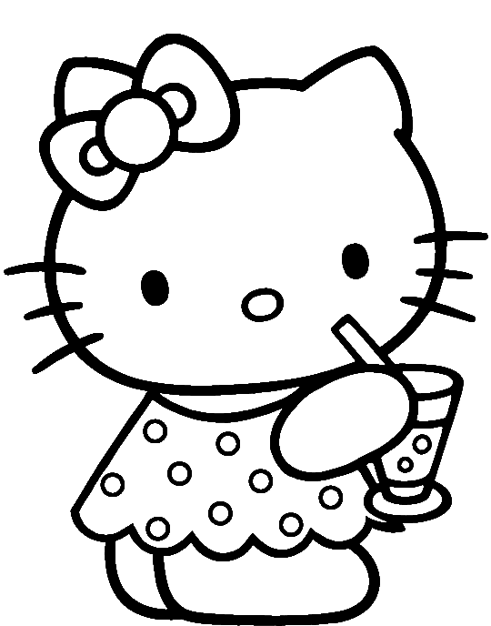 clipart transparent Was drinking delicious coloring. Drawing printables hello kitty