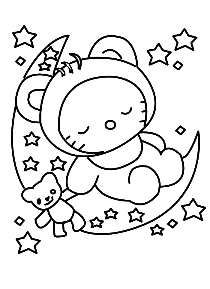 svg royalty free stock Drawing printables hello kitty. Sleeping in christmas eve