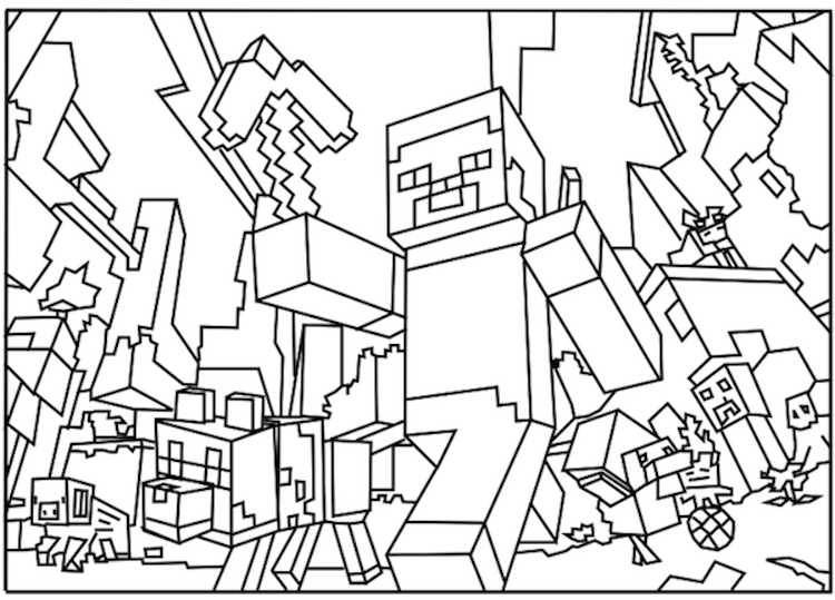 jpg royalty free library Coloring pages them kids. Drawing printables minecraft