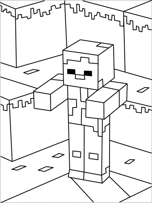 transparent download Drawing printables minecraft. Printable zombie coloring page