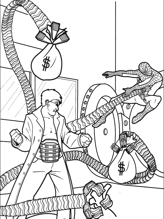 png library library Drawing printables spiderman. Tries to catch octopus