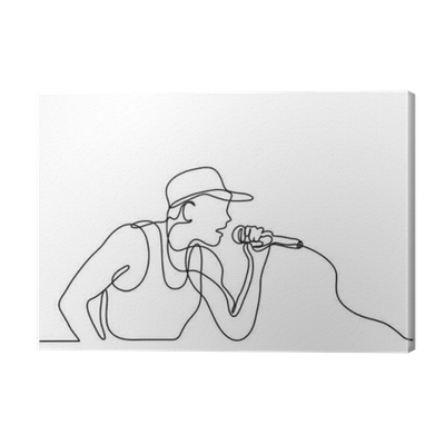 image free library Continuous line of singer. Drawing prints