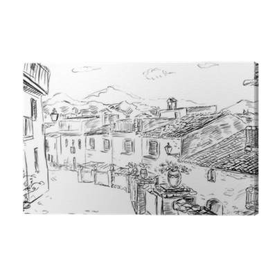 jpg black and white stock Drawing prints architecture. To the greek town