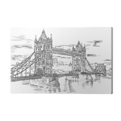 png Drawing prints architecture. Tower bridge hand illustration