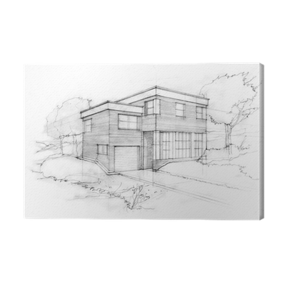 clipart library download Drawing prints architecture. Sketch of a modern
