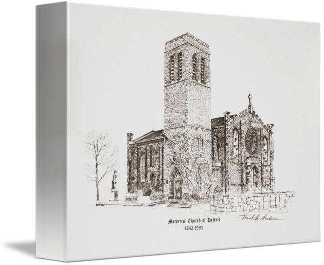 clip black and white stock Mariners church of detroit. Drawing prints architecture