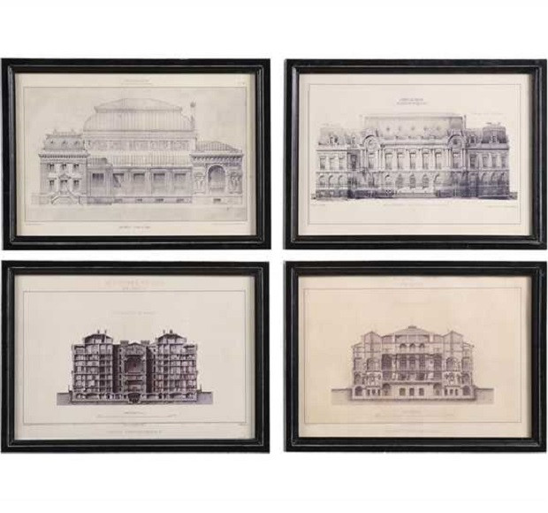 clip free library Drawing prints architecture. Vintage reproduction architectural drawings