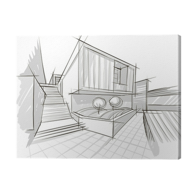 svg black and white stock Sketch canvas print pixers. Drawing prints architecture