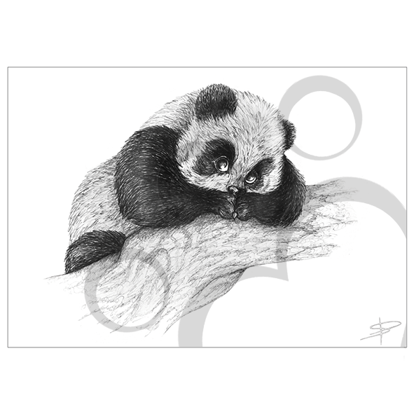 clipart black and white Drawing prints art. Panda inkling decorate your