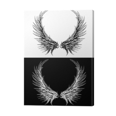 image royalty free Silhouette of wings made. Drawing prints ink