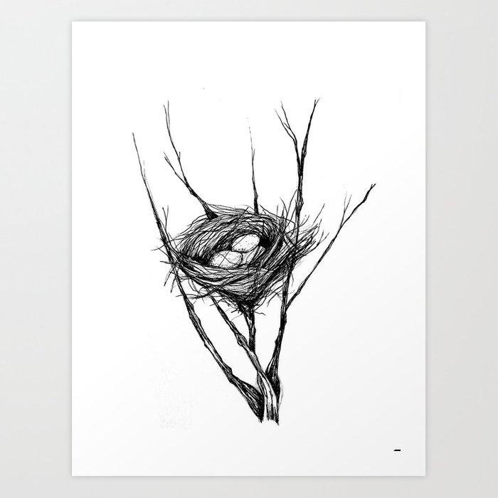transparent download Bird nest art print. Drawing prints ink
