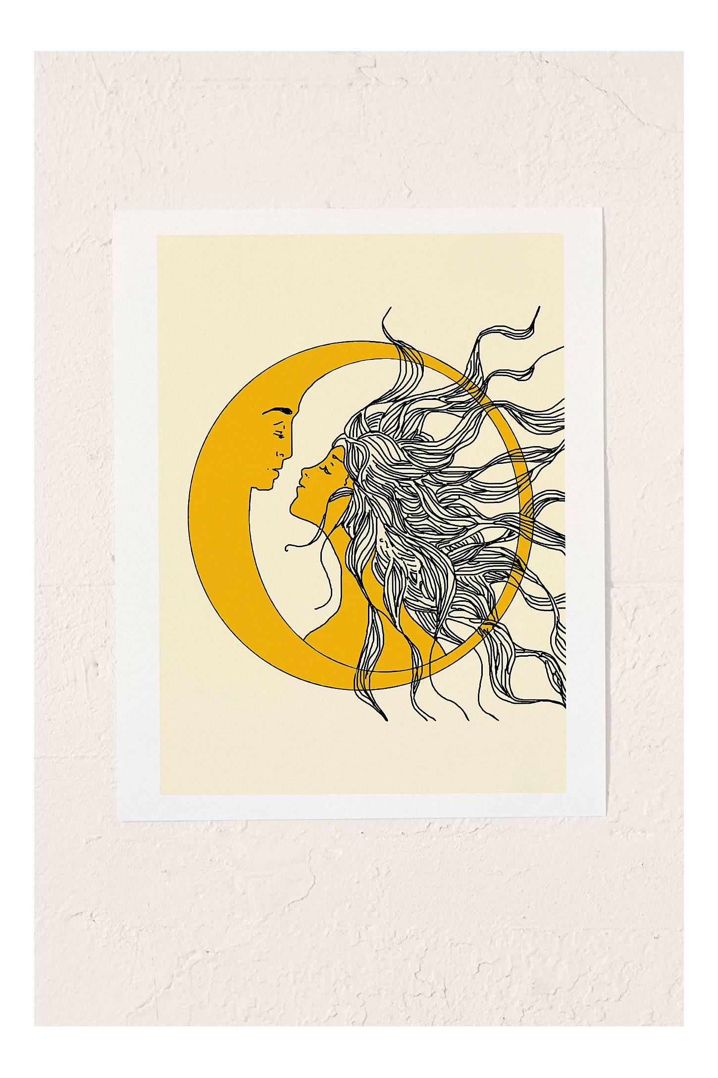 image free stock Nadja sun and moon. Drawing prints paintings