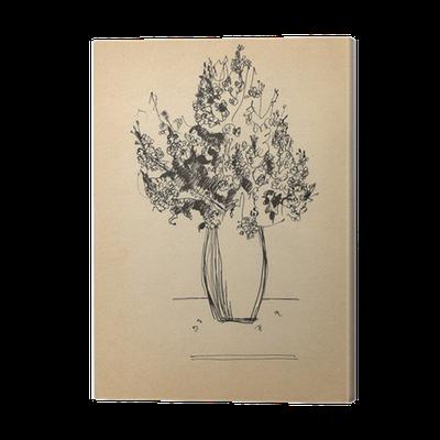 banner transparent Drawing prints pen. Bouquet sketch on old