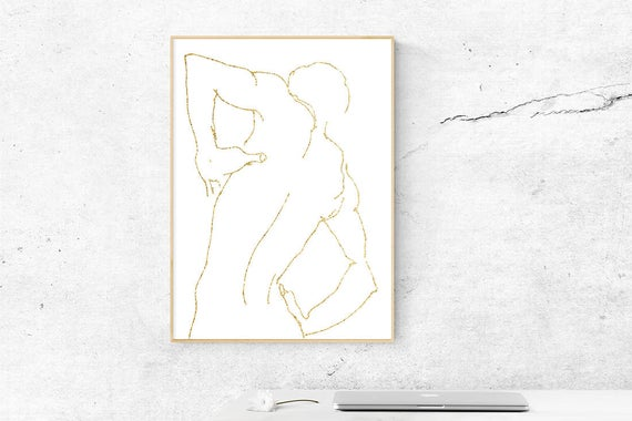 clip transparent stock Gold foil figure print. Drawing prints wall art