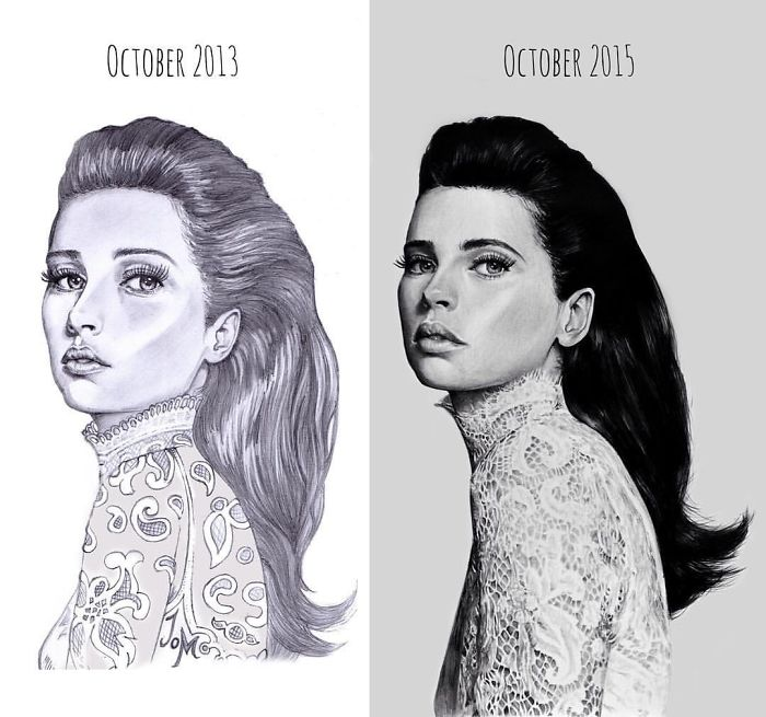 transparent  before after drawings. Drawing progress