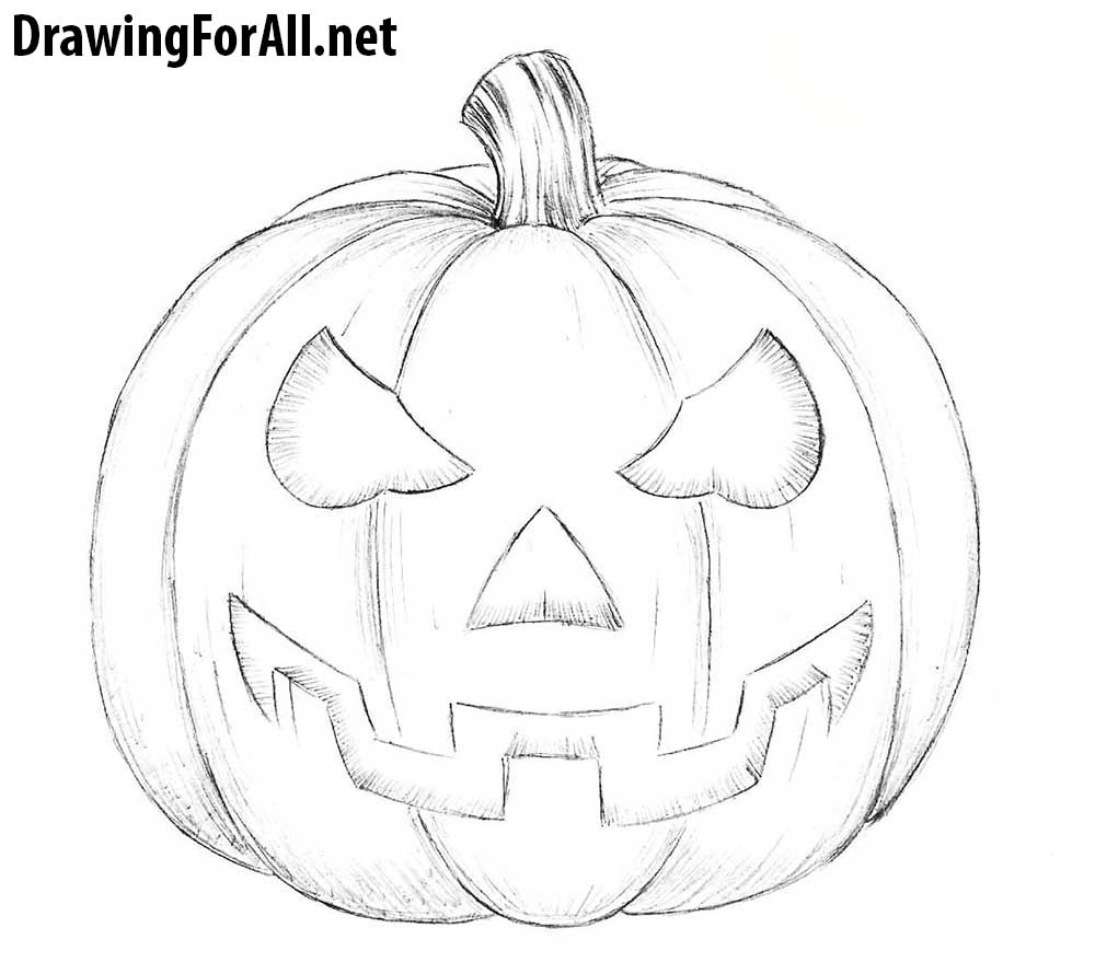 png black and white stock Drawing pumpkin. How to draw a