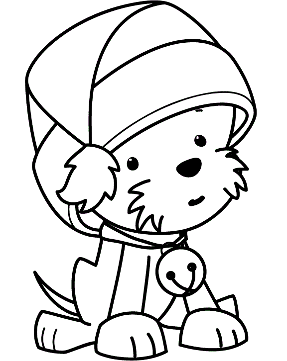 vector library download Funny Puppy Wearing Christmas Hat Coloring Pages