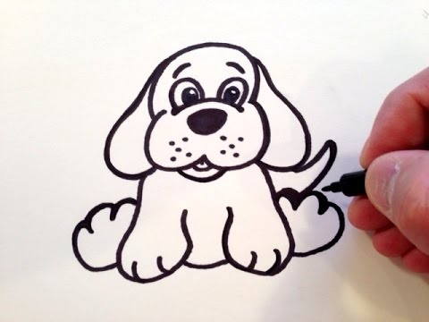 image black and white How to Draw a Cute Puppy Dog