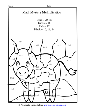 vector royalty free library Fillable Online Cute Baby Calf Multiplication Puzzle Math Coloring