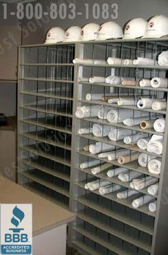 black and white stock Drawing storage blueprint. Rolled shelving flat file