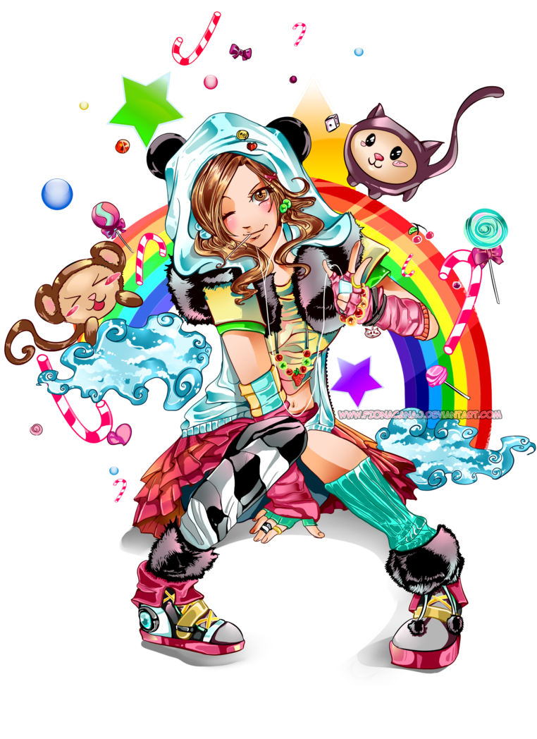 banner transparent Drawing rainbows kawaii. Girl by fcnart on