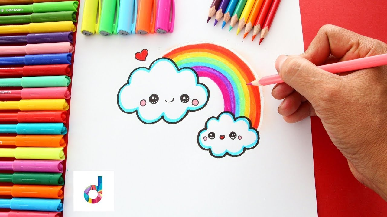 clip art royalty free library How to draw a. Drawing rainbows kawaii