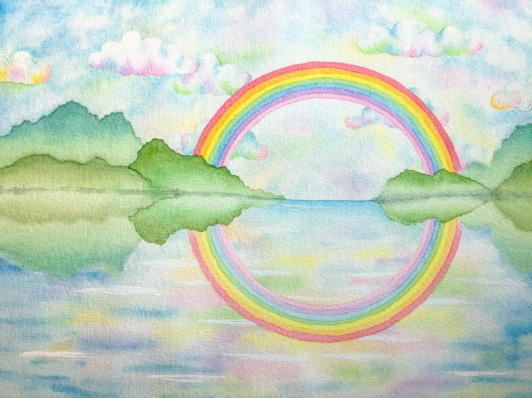 clipart library stock Rainbow mountains ocean by. Drawing rainbows mountain
