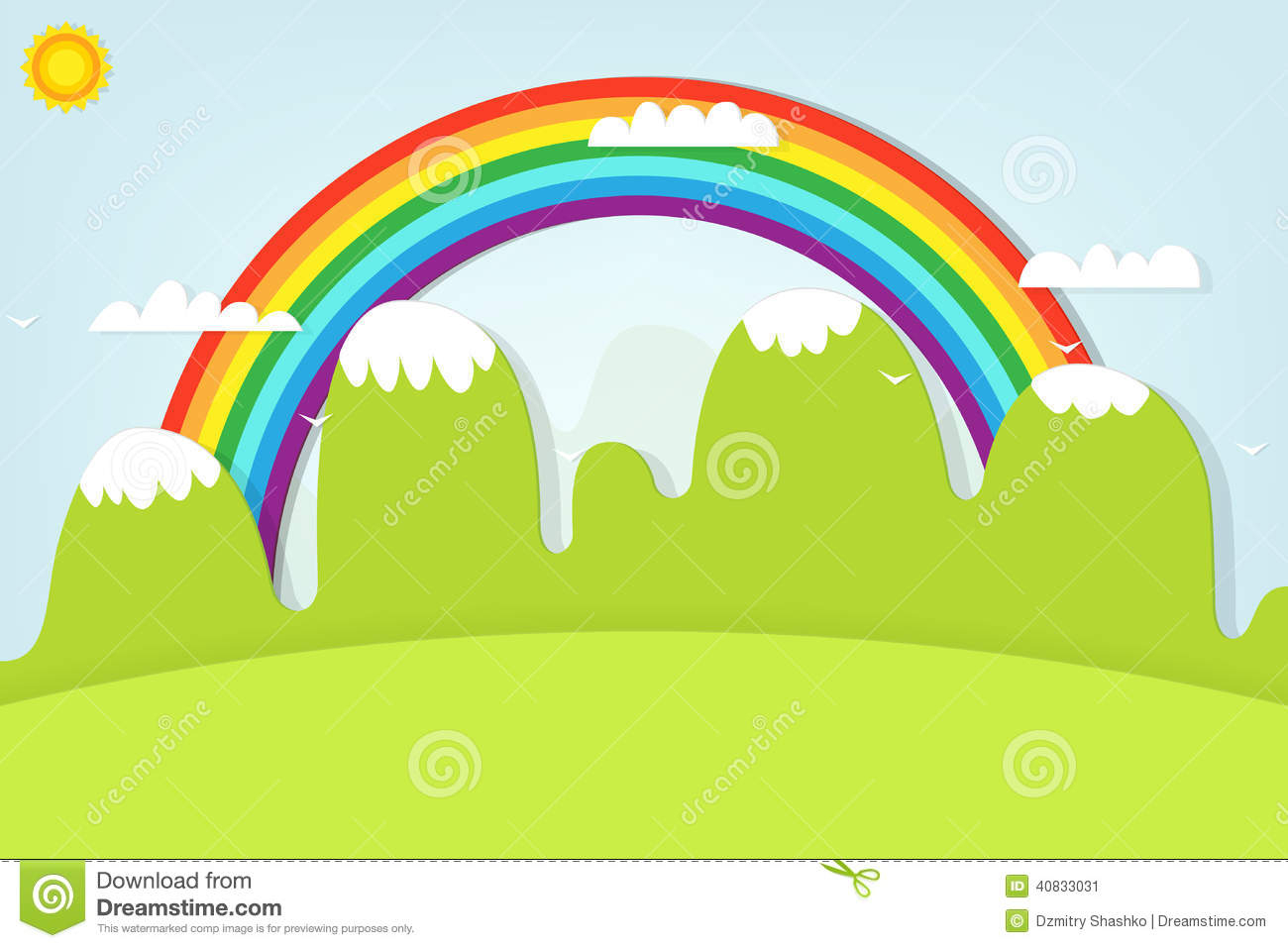 clip art transparent download Drawing rainbows mountain. Rainbow landscape and stock