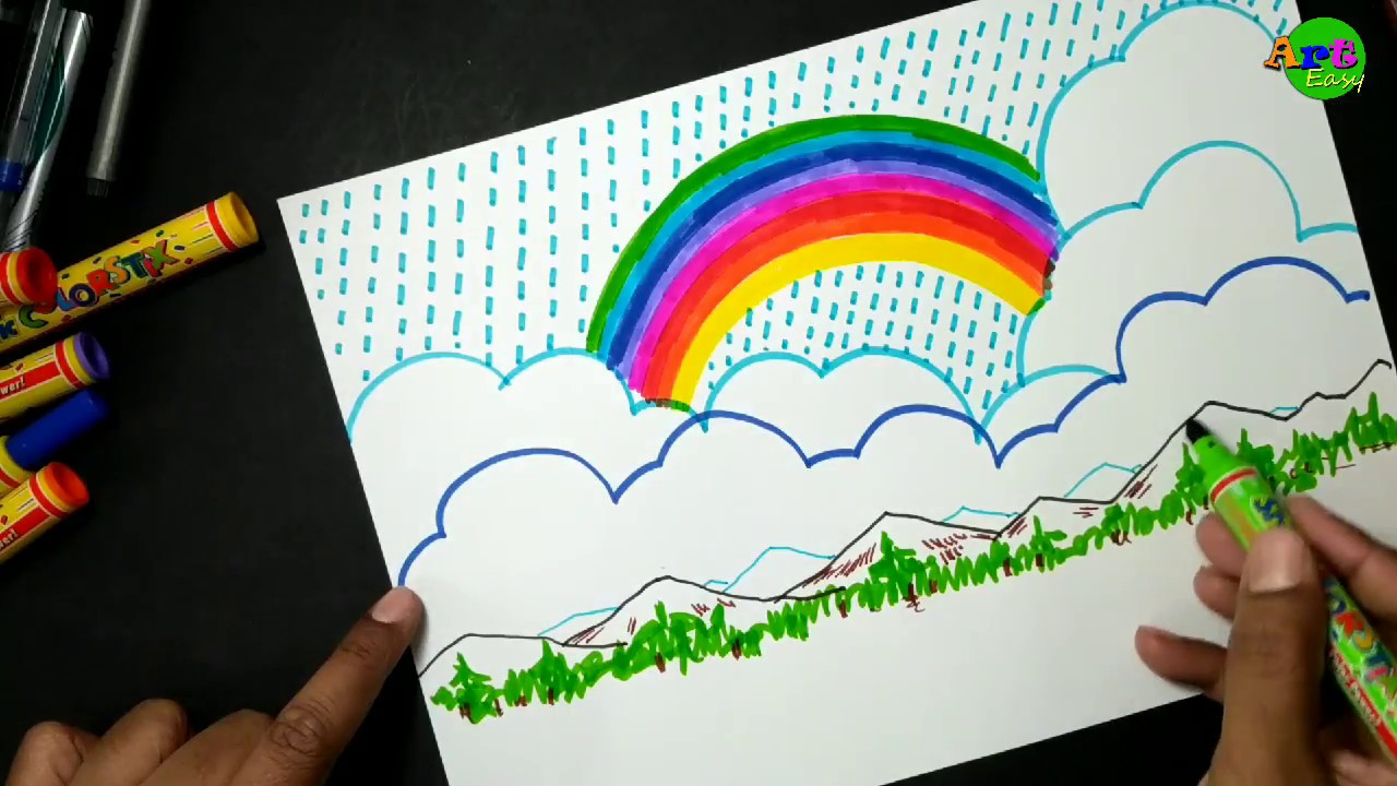 clipart freeuse download How to draw with. Drawing rainbows mountain