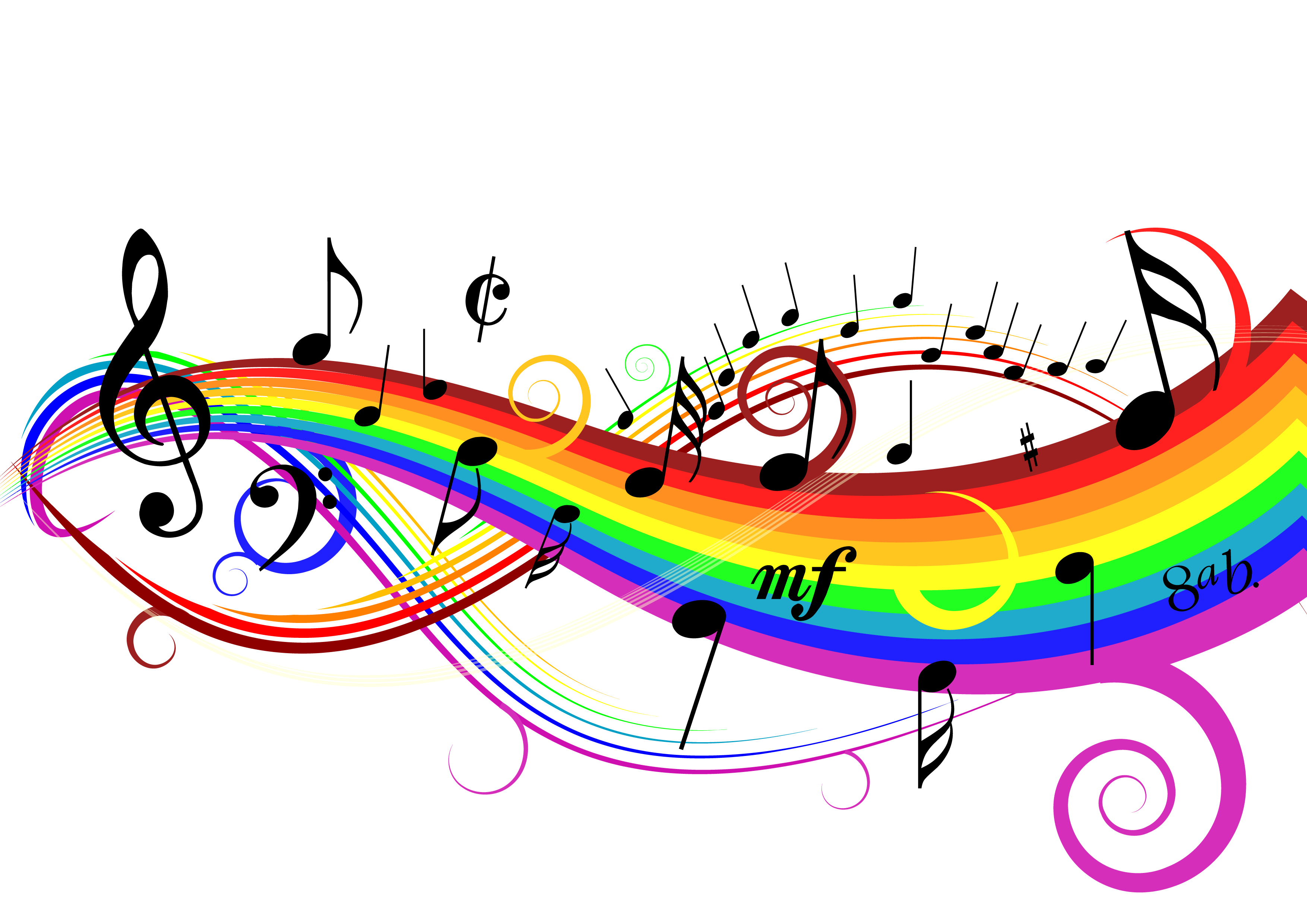 freeuse stock  rainbow notes png. Drawing rainbows music note